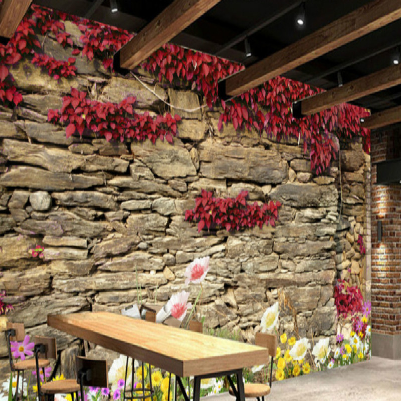 Ivy large rock wall mural wall painting living room bedroom 3D wallpaper TV backdrop stereoscopic 3D wallpaper large custom 3d wallpaper mural 3d wallpaper 3d stereoscopic rose pink flowers living room bedroom tv backdrop box