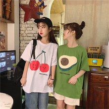купить Women's Summer Cotton Round Neck Short Sleeve Cute Girl Cartoon Cherry Avocado Pattern Print Loose Casual Fruit T-Shirt Top дешево