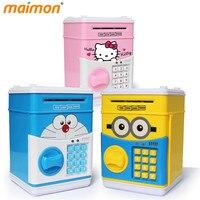 Cute Cartoon ATM Bank Money Saving Box Kitty Password Box Minions Piggy Bank Safe Locks Panda Smart Voice Prompt Money Piggy Box