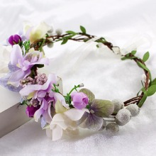 Fashion Berry Flower Wedding Vine Bridal Tiara Head Wreath For Women Girl Christmas Party Wreath Garland