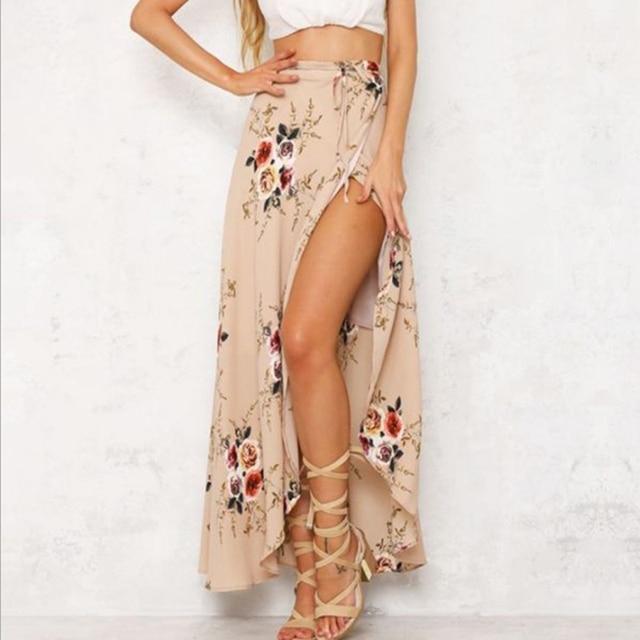 Boho Высокая талия Асимметричная юбка Винтаж цветочным принтом длинные юбки женские летние элегантные пляжная юбка макси