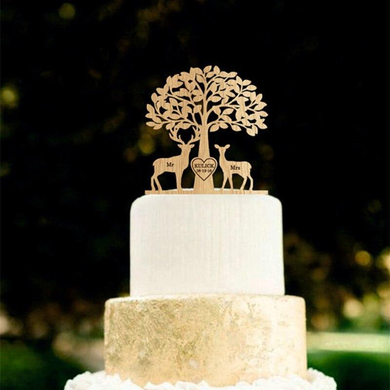 1pcs Personalized Custom Wooden Wood Mr&Mrs Deer Cake Topper Love ...