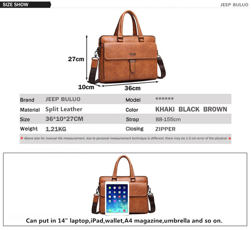acbc1e05c JEEP BULUO de la marca de los hombres bolso Casual maletín bolso de  negocios Cartera de cuero marrón de alta calidad bolsas de mensajero 14