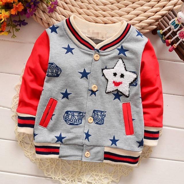 Primavera Otoño Niños Casuales Casaco de Algodón Estampada de Manga Larga Estrella Chicos Chaquetas de la Rebeca Del Bebé Niños Outwear Abrigos MT810