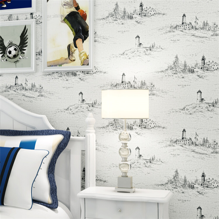 Non-woven Wallpaper Mediterranean Lighthouse Living Room Bedroom Backdrop Wall Paper Children's Room Boy Wallpaper