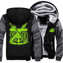 Usa größe männer frauen schwert art online sao luminou mantel reißverschluss hoodie winter fleece unisex verdicken jacke sweatshirts clothing
