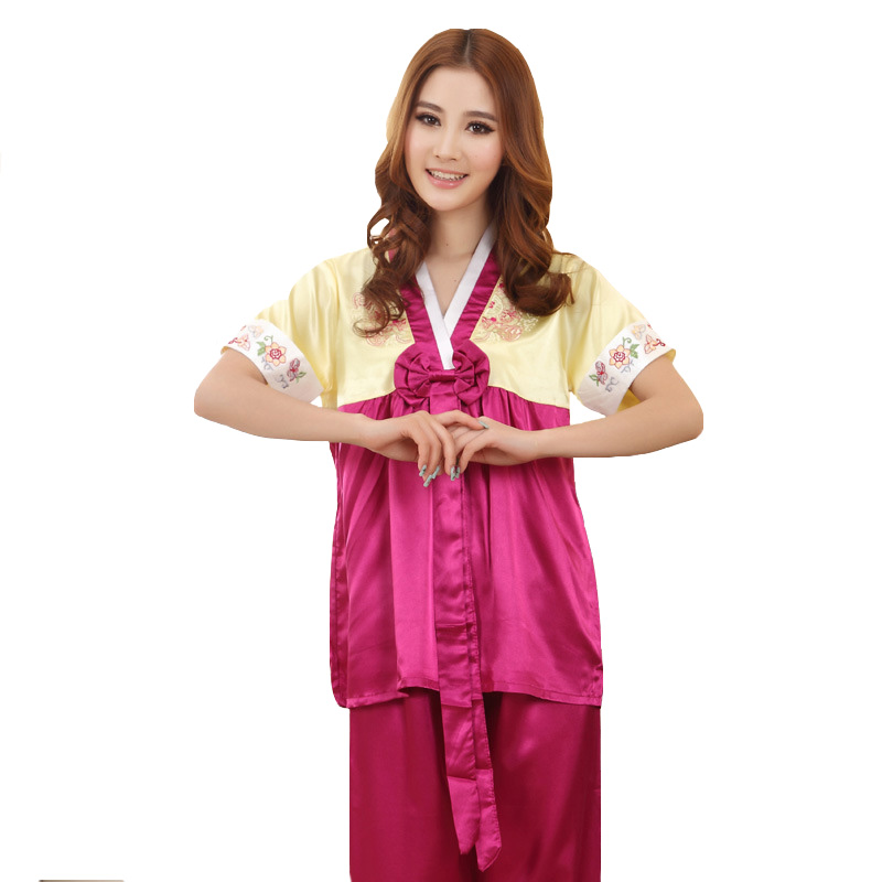 Hat Sale Red Ladies Faux Silk Pajamas Set Chinese Traditional Button ... b210aea1e
