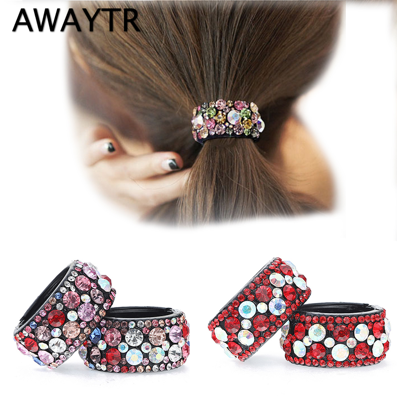 1 pc AWAYTR 2018 Hair Clips for Hair Plastic Crystal Gum for Hair Ponytail Ring Buckle Holder Women  Accessories  Hairpin