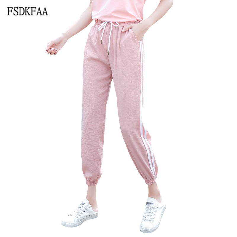 FSDKFAA 2019 Women Casual   Leggings   Striped Fitness   Leggings   Workout Joggers Women Wide Leg   Leggings   Female Plus Size Pants XXXL