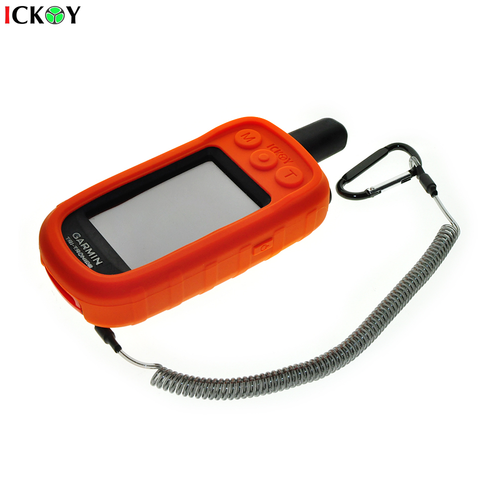 Protect Case Cover + Safety Retractable Tether Steel Inside Stretch Coiled Lanyard For Handheld GPS Garmin Alpha 100 Alpha100