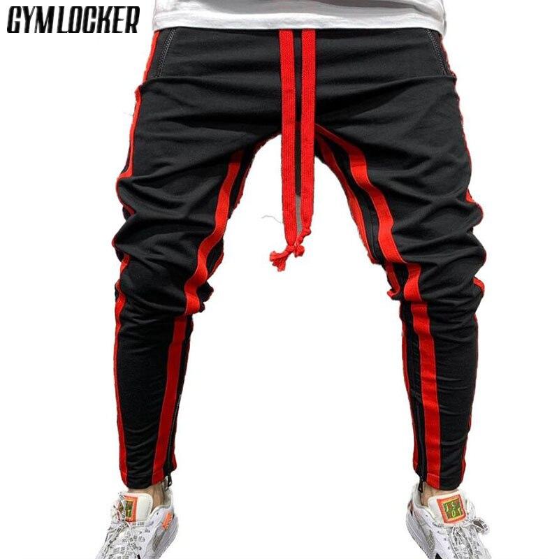 Mens Stripe Splicing Sport Gym Tracksuit Bottom Color Block Hip Hop Pencil Pants