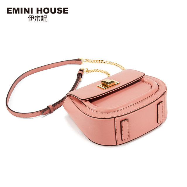 EMINI HOUSE Fashion Saddle Bag 5 Colors Split Leather ladies Chain Bag Women Shoulder Crossbody Bags For Women Messager Bags