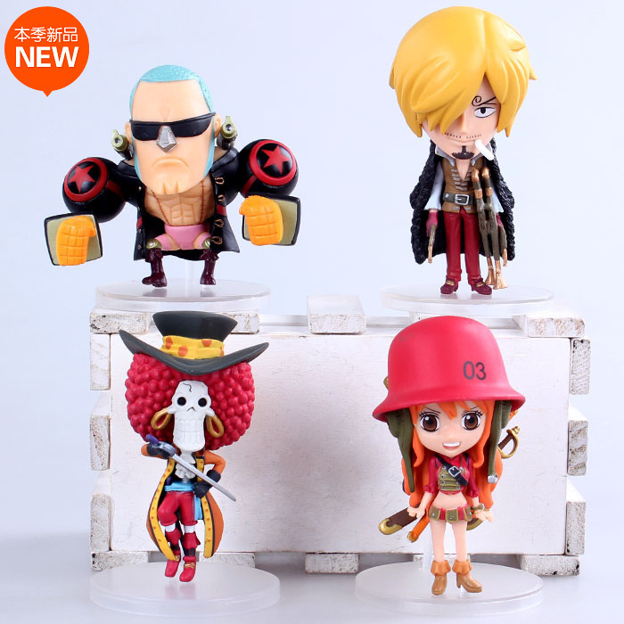 4pcs/set Anime One Piece Film Z Frank Sanji Nami Brook Q Version PVC Action Figure Collection Model Toys Dolls  OP103 шарф frank q