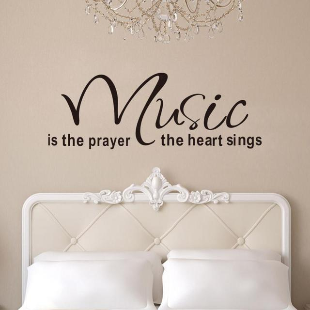 Quote Wall Decals 2017 New Designs Music Is The Prayer The Heart Removable  Vinyl Wall Stickers