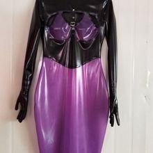 Латексное платье черного и фиолетового цвета с пятью пальцами Юбки размер XXS-XXL