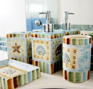 Fashion Sea Shell Ceramic Bathroom Set Five Piece Bathroom Accessories Set