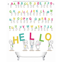 Funny Educational Alphabet Letters Art Prints Nursery Bathroom Set Decor Design Shower Curtain