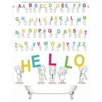 子供浴室シャワーカーテンアルファベット手紙花ポリエステル防水生地風呂カーテン