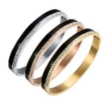 Stainless Steel Rose Gold Color Bracelets & Bangles Charm AAA Cubic Zirconia Female Open Cuff Bracelets for Women Men Jewelry new bracelet for women gold plated color aaa cubic zirconia charm bracelets