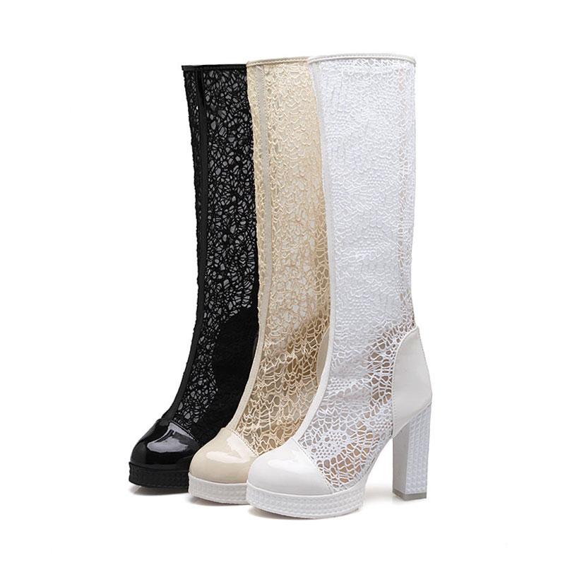 32 Talons Femmes Genou white 43 Maille forme Plate Daitifen Dentelle Zip Haute Chaussures Sexy Bloc D'été black Beige Bottes Taille Respirant q5tK8
