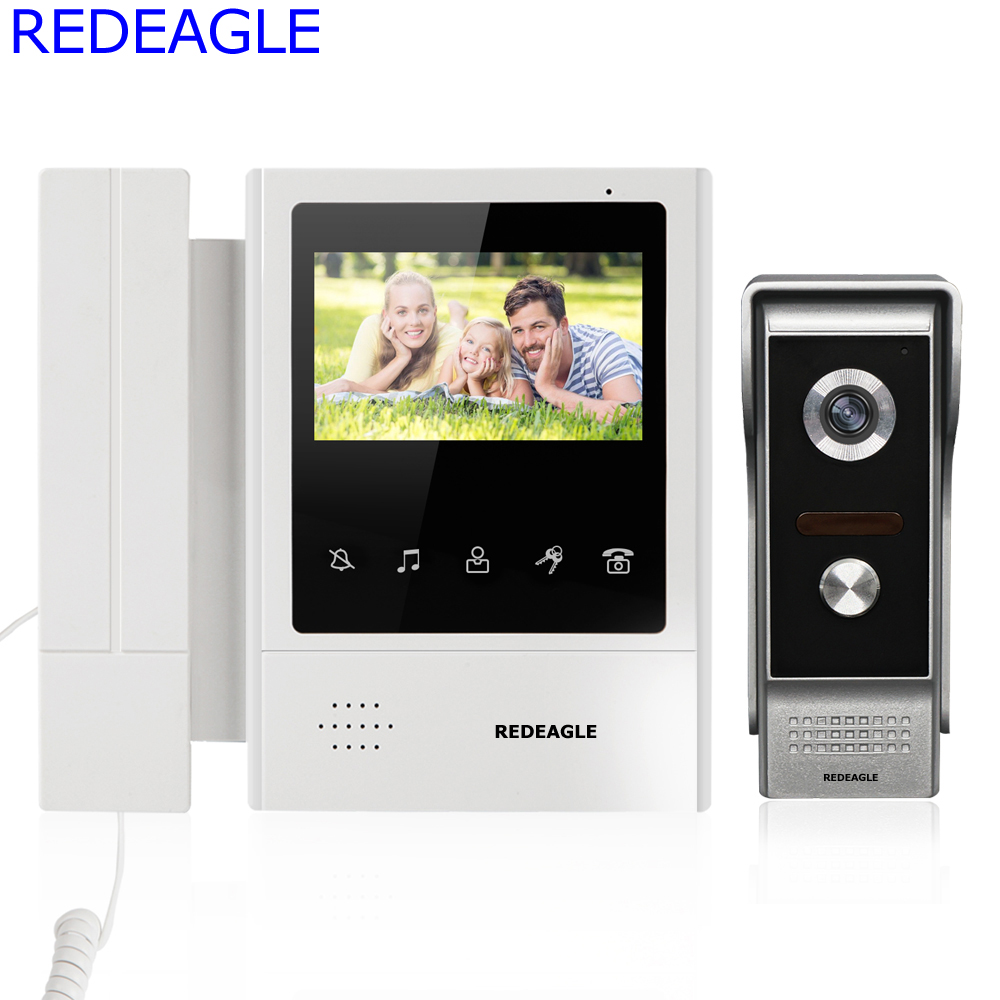 4.3 inch Touch Key LCD Monitor Video Door Phone Doorbell Intercom System with 700TVL HD Metal Camera and 5M Cable Free shipping 7 inch video doorbell tft lcd hd screen wired video doorphone for villa one monitor with one metal outdoor unit night vision