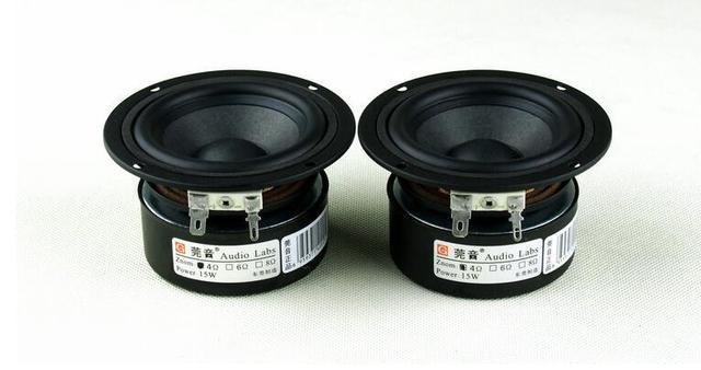 Um par de 3 polegadas 4 ohm 15w alto falante de alcance total, subwoofer, caixa de som hi fi