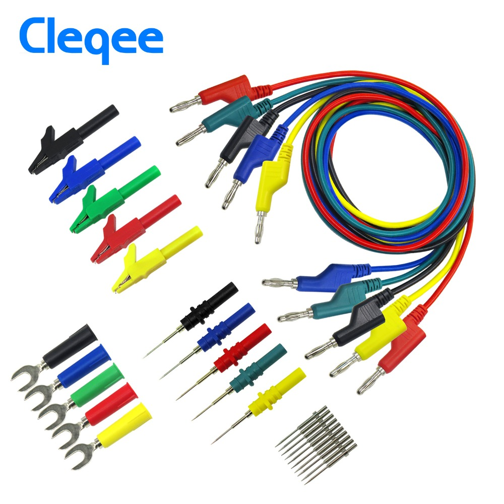 цена на Cleqee P1036B 4mm Banana to Banana Plug Test Lead Kit for Multimeter Match Alligator clip U-type & puncture test porbe kit