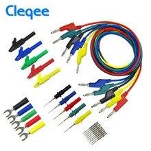 цена на Cleqee P1036B 4mm Banana to Banana Plug Test Lead Kit for Multimeter Match Alligator clip U-type & puncture test probe kit