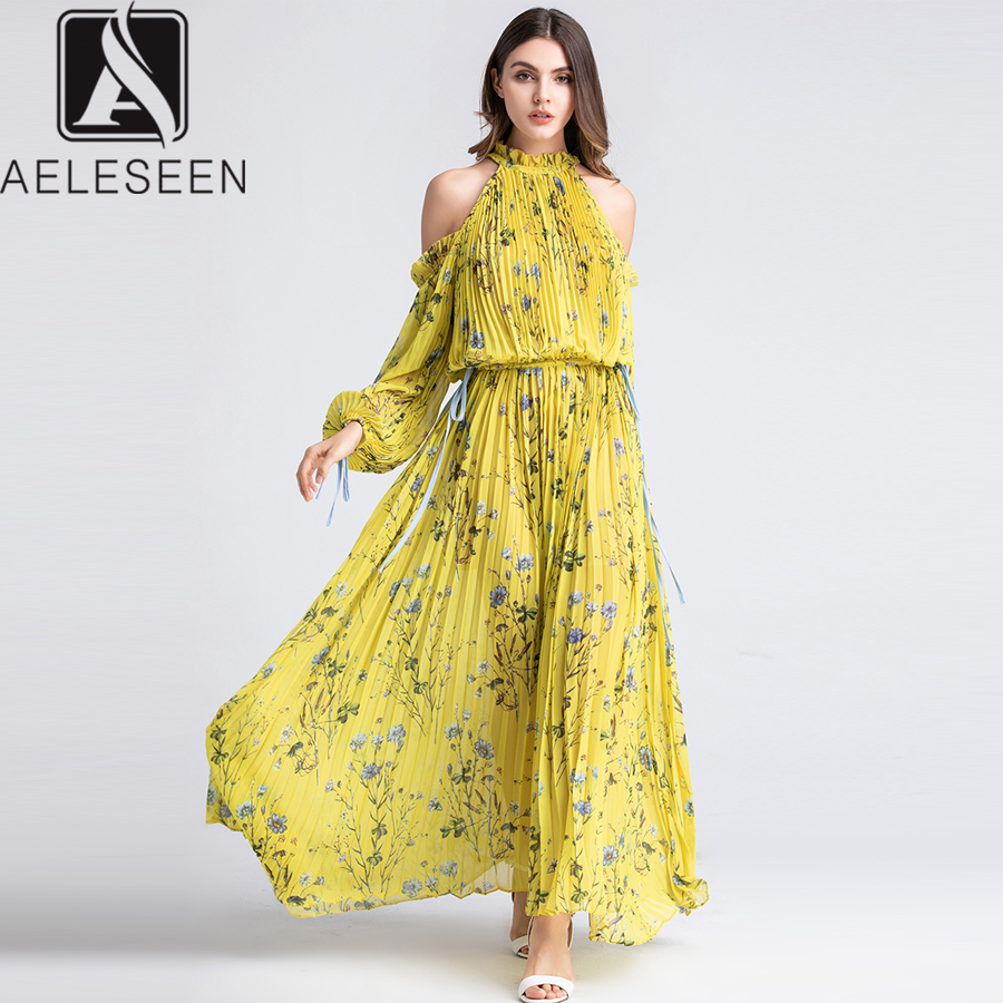 AELESEEN Runway Yellow Dress Elegant 2019 Summer Off Shoulder Halter Lantern Sleeve Bow Floral Print Pleated Luxury Long Dress