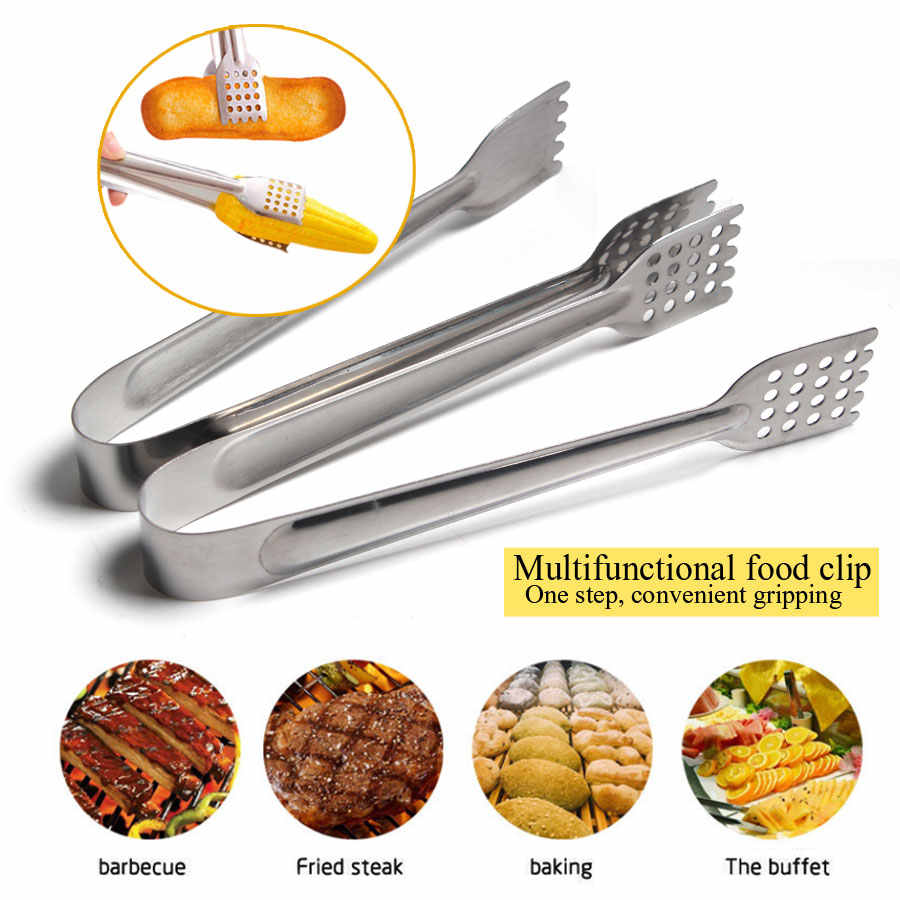 18cm 22cm 26cm Stainless Steel BBQ Tongs Kitchen Hole Tongs Lock Design Barbecue Clip Clamp Practical Kitchen Tools