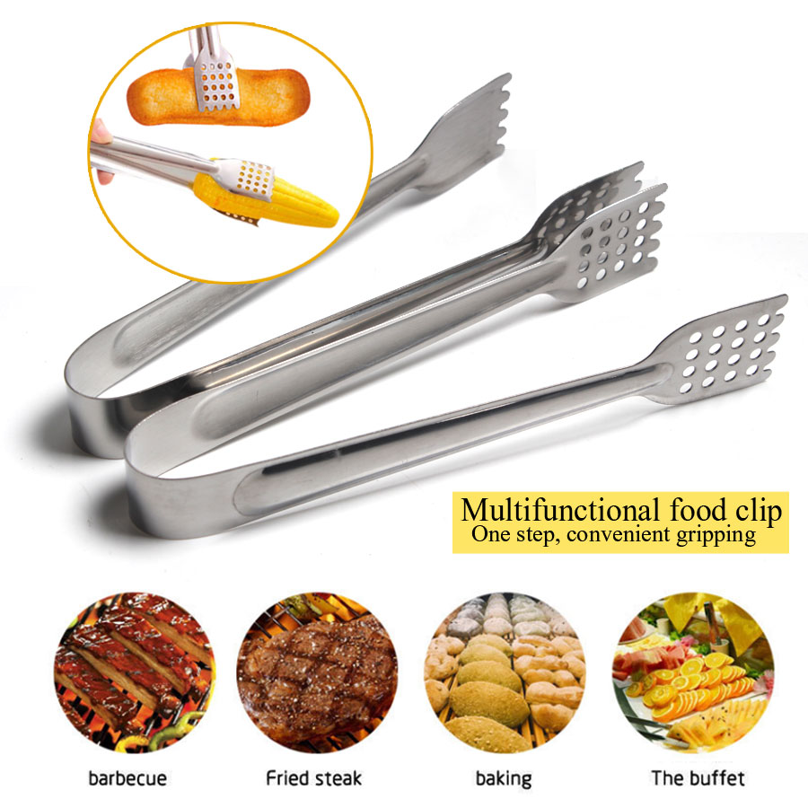 18cm 22cm 26cm Stainless Steel BBQ Tongs Kitchen Hole Tongs Lock Design Barbecue Clip Clamp Practical Kitchen Tools Щипцы