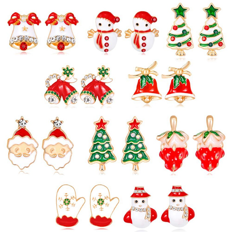 Boutique New Fashion Women Crystal Santa Claus Lovely Tree Bell Christmas Jewelry Christmas Earring For Women Gifts