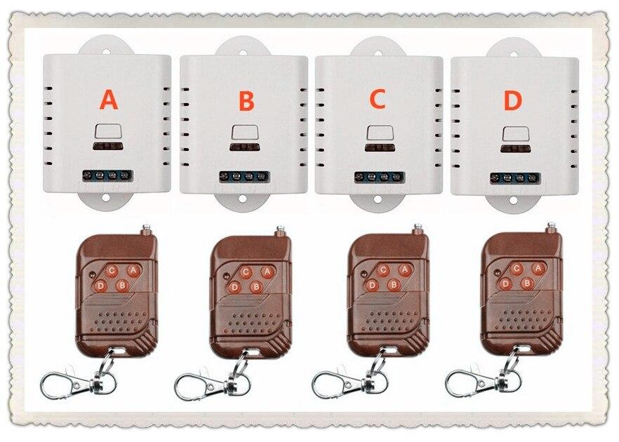 AC85V 110V 240V 220V 1CH 1Channe RF wireless remote control switch System teleswitch 4X Transmitter + 4X Receiver,315/433 MHZ ac220v 2ch 10a rf wireless remote control switch system teleswitch 10 transmitter
