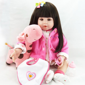 "NEW 20""bebe reborn doll silicone doll soft body realistic long hair cute plush baby metoo girl  toy Reborn doll"