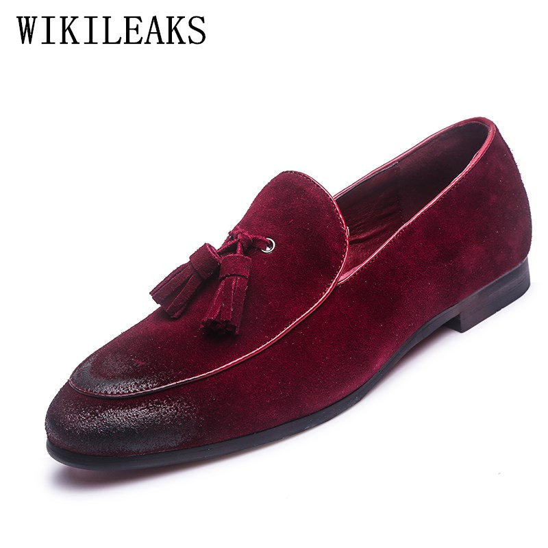 2019 Designer Casual Shoes Genuine Leather Cow Suede Tassel Men Loafers Luxury Brand Slip On Dress Shoes Oxfords Shoes For Man