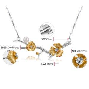 Image 5 - Lotus zabawy prawdziwe 925 Sterling Silver Handmade projektant biżuterii Delicated kwiat śliwy naszyjnik kwiatowy z łańcucha dla kobiet