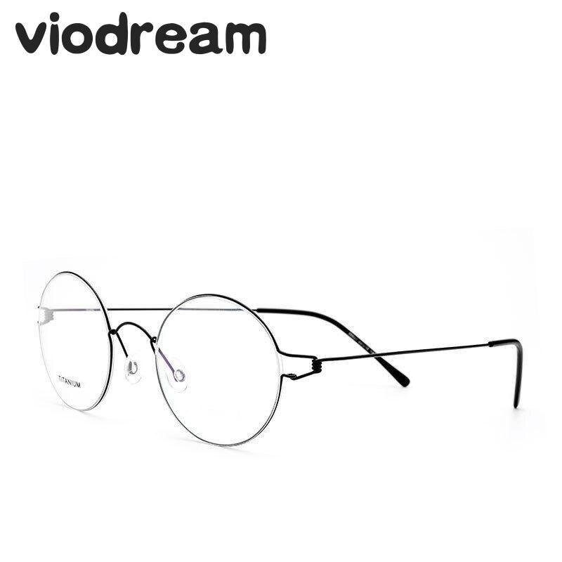 Viodream rétro rond titane Ultra léger lunettes sans vis mince montures De lunettes optique Prescription lunettes Oculos De Grau