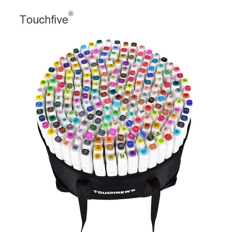 TOUCHFIVE 168 цветов одиночные художественные маркеры кисти ручки для эскиза на спиртовой основе маркеры двойная голова манга Рисование ручки ху...