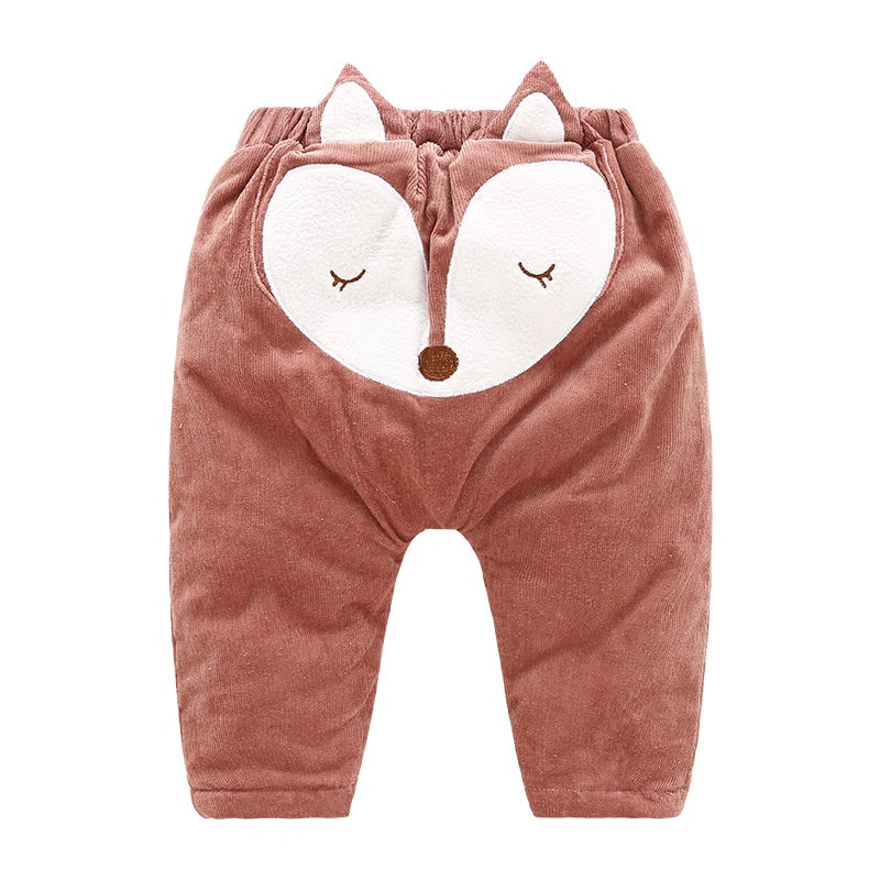 New Fashion Children Pants Drawstring Boys Girls Cute Fox Thick Winter Warm Cotton Trousers Popular Boys Girls Sport Casual Pant