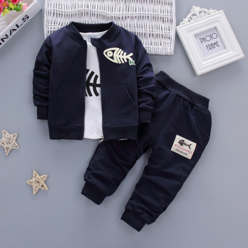 2019 New Fashion Cotton Baby Boy Clothes Rød Navy Blue Grey Minion Coat T-Shirt Bukser 3PCS Children Set Baby Girl Baby Suits