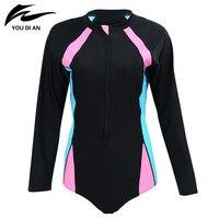 2017 New Sports Swimwear One Piece Swimsuit Long Sleeve With Zipper Bathing Suits For Women 3XL