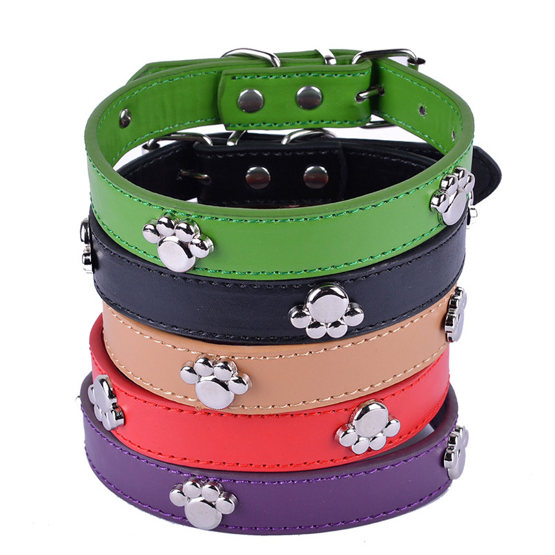 Fashion 5 Colors PU Leather Paw Pet Dog Collar For Puppy Cat Chihuahua Small Dog Neck Strap Adjustable Size S M L Pet Supplies