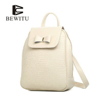 BEWITU 2017 Fashion Genuine Leather Women Backpack Vintage Bow Decorated Lady Elegant Backpacks Casual Bag New