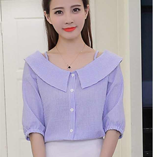 Women Blue White Striped Blusas Half Sleeve Peter Pan Collar