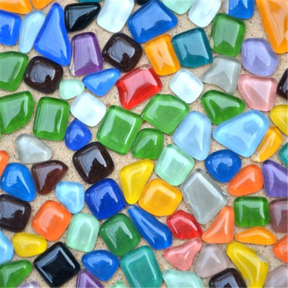 Craft mosaic tiles cheap - 100pcs Vitreous Glass Mosaic Tiles Shapes Diy Craft Supplies 150g Various Mixes Optic Drops 035
