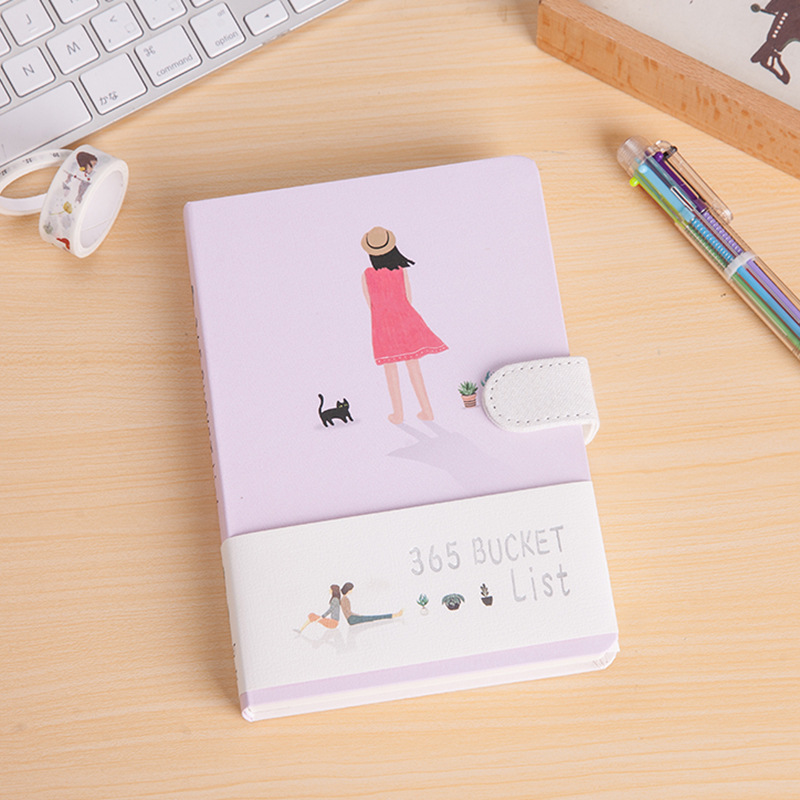Korean Cute 365 Wish List Planner Notebook School Stationery Store Agenda Diary Note Book Kawaii Journal Bts Gift Office Supply retro color 365 days notebook gift diary note book agenda planner material escolar caderno office stationery supplies gt108