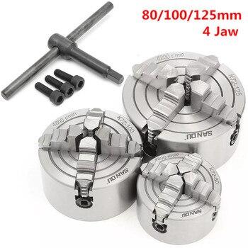 Torno de garras K72 de 80/100/125mm y 4 mandriles, herramientas de torneado Reversible independiente endurecido, accesorios K72-80 K72-100