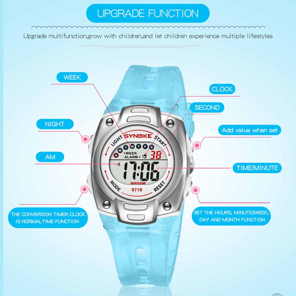 children's watch 2019 kids watches girls Luminous Multi Function Waterproof Student Sports Electronic Watch zegarki dla dzieci