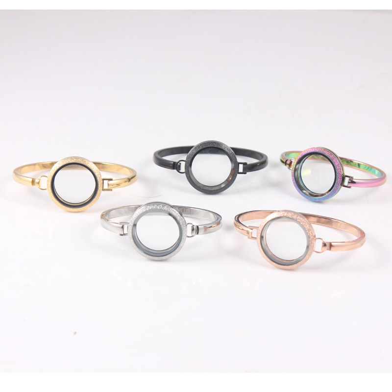 30mm Screw Stainless Steel Floating Locket Bangles 7 8 Inch Glitter Spatkle Floating Locket Bracelet Bangle