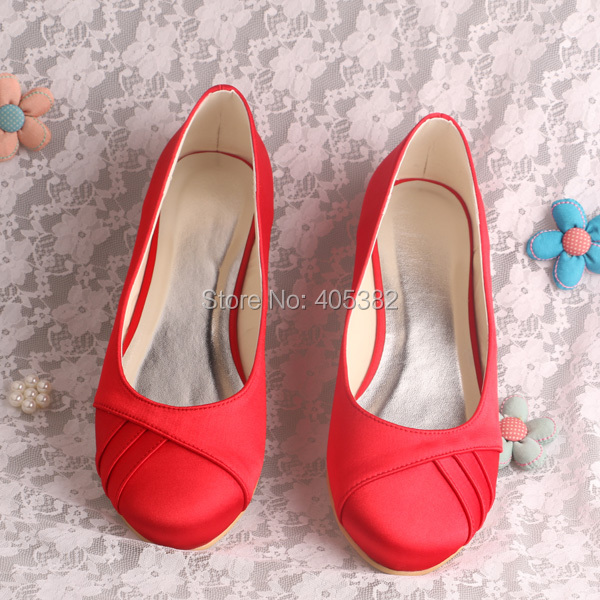 (20 Colors)New Design Women Fashion Casual Shoes Wedding Bridal Ballet Flats Red Satin